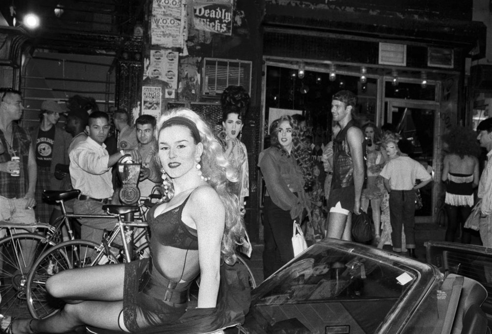 Sister Codie Ravioli on Avenue A outside Pyramid , after Wigstock, 1990.  Photograph by Tina Paul.