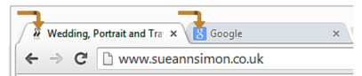 The arrows point to my (and Google's) favicon.