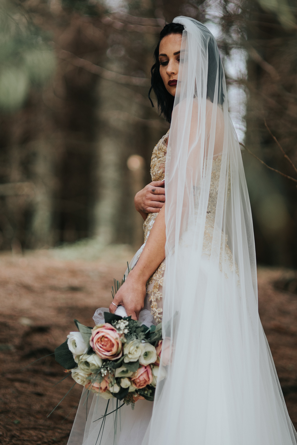 birmingham-wedding-photography-bridal-portraits-two-piece-dress-lace-tulle-sutton-coldfield-silk-bouquet