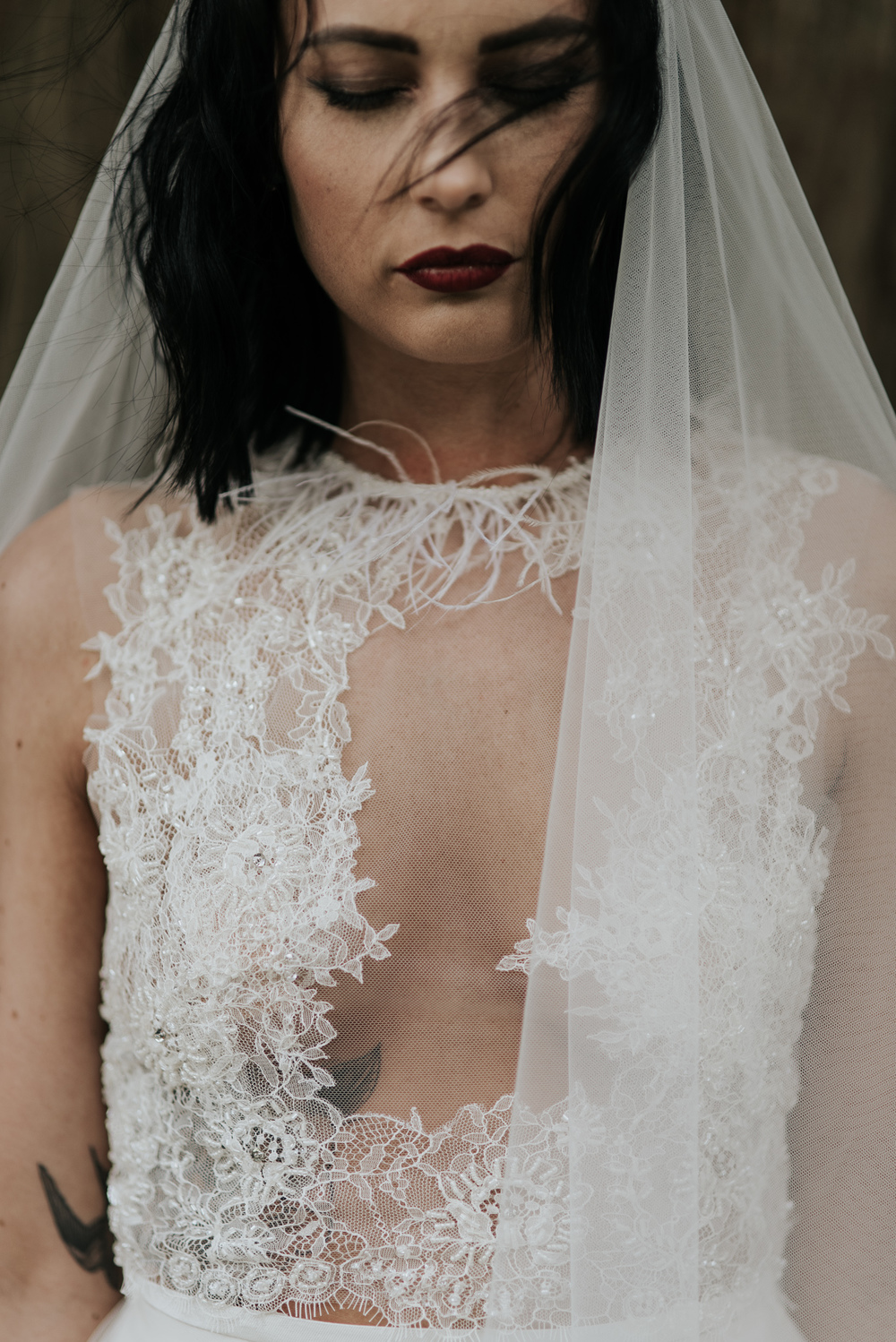 birmingham-wedding-photography-bridal-portraits-two-piece-dress-lace-tulle-sutton-coldfield-feather-neckline-veil