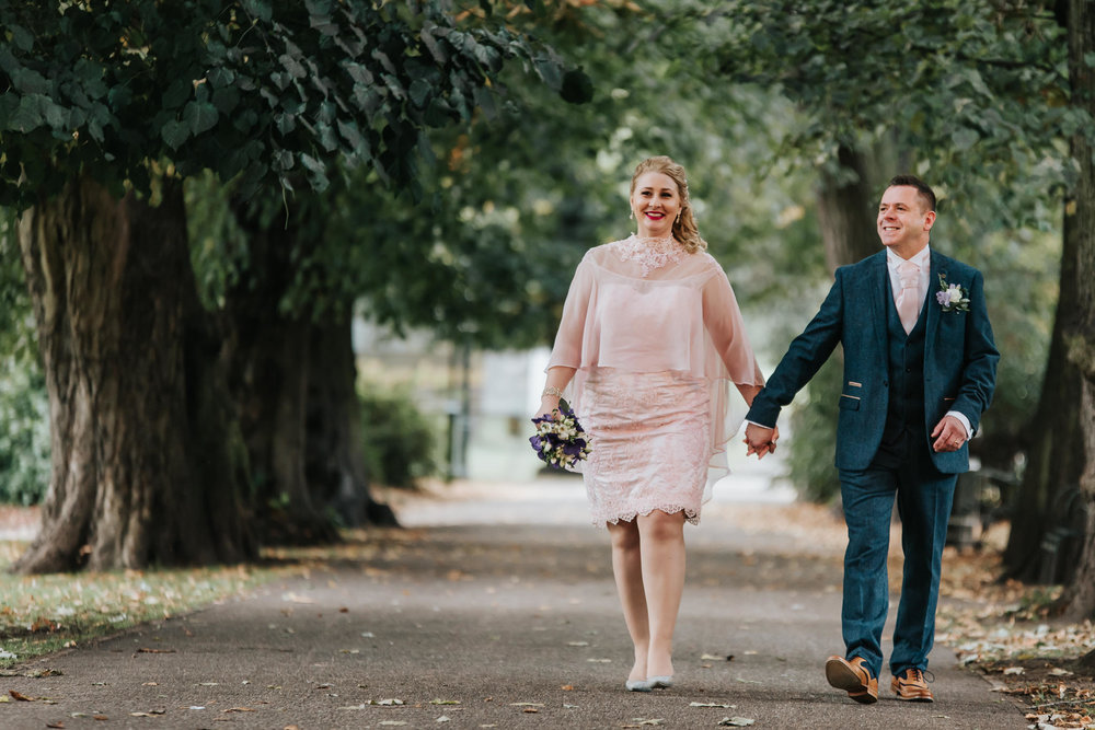 G + T's first walk as a happliy married couple in Beacon Park, after an intimate ceremony at Lichfield Registry Office.
