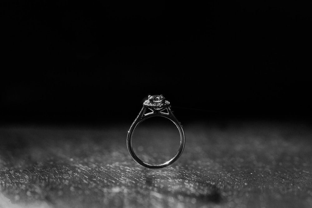 Beautiful close up macro photo of bride's engagement ring while getting ready for her wedding at The Welcombe Hotel in Stratford.