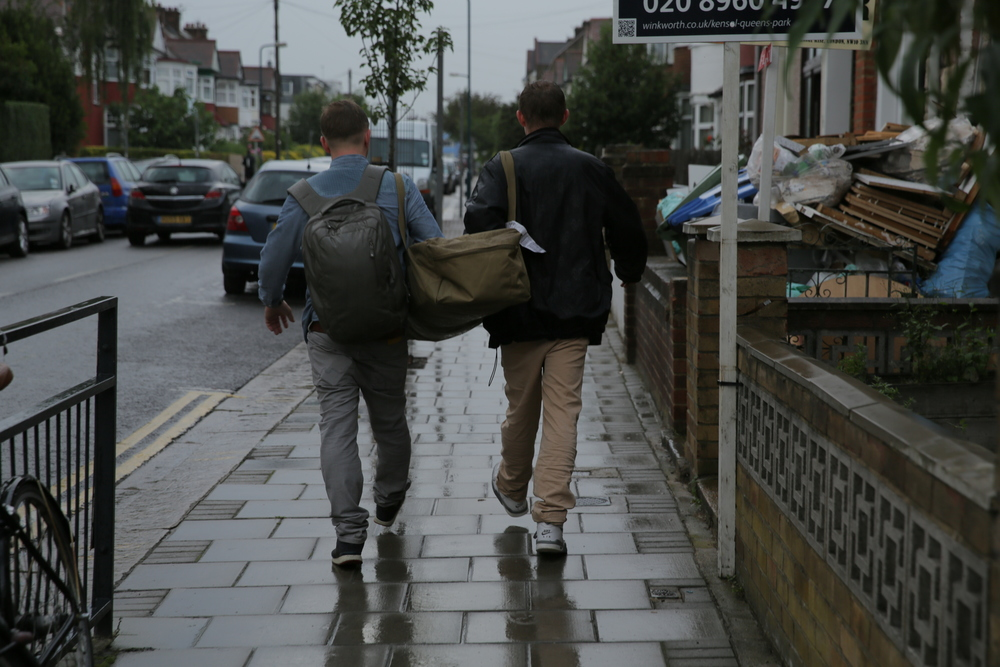 Tommy and Harry. Carrying my bag. ..