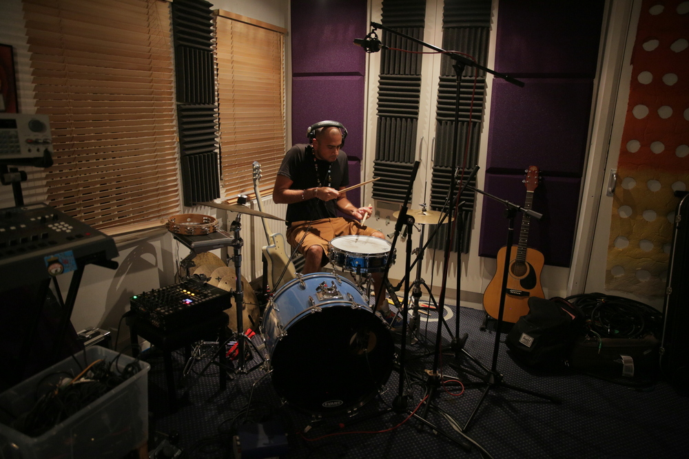 D_wala working on drums for Tommy.
