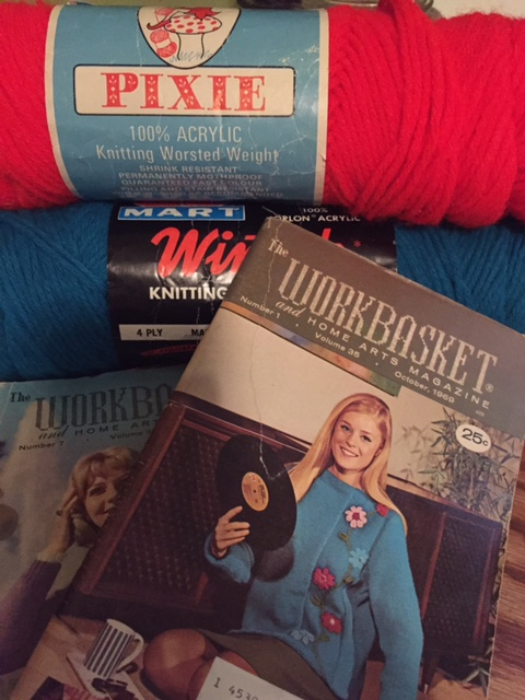 Vintage yarn and knitting patterns, a gift from Cassandra.