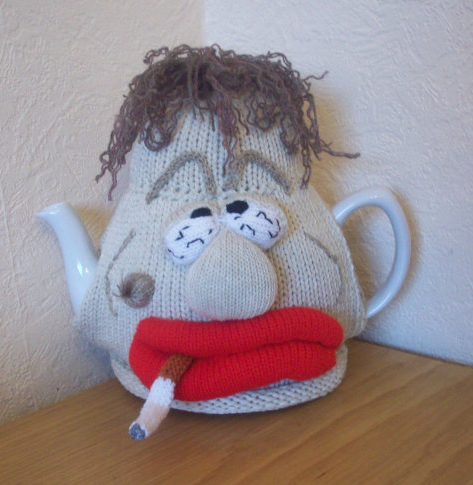 A tea cozy, complete with cigarette. You will be guaranteed to be the only one giving this unique gift, I promise.  Image rosiecosie