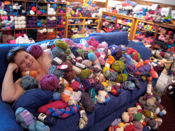 No stash shaming! if you feel guilty about your stash, click on the photo and read an interview with Bonney, who may have the world's biggest yarn stash.
