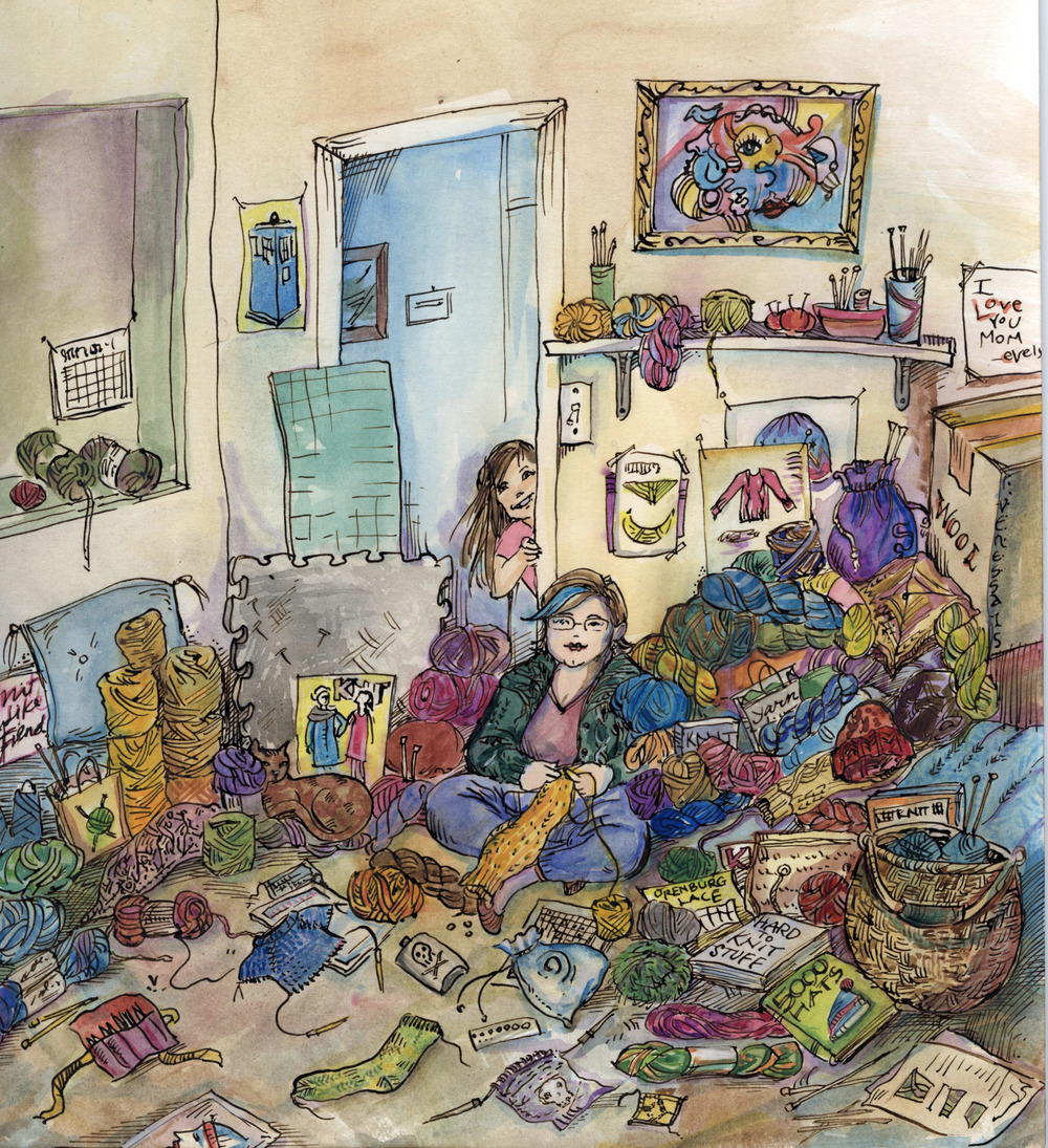 """Amanda's Hot Mess Den-O-Yarn,"" © Venessa Sylvester, pen & ink and watercolor, 2015. Click on the image to enlarge. You'll miss too much if you look at it this size..."