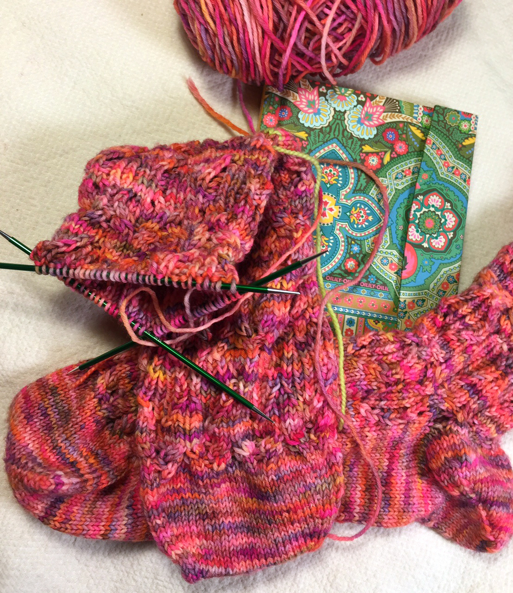 Venessa's new Oilily notebook is nestled among the Ardwinna socks in Sakura, being knit on Signature DPNs. ...so much luxury!