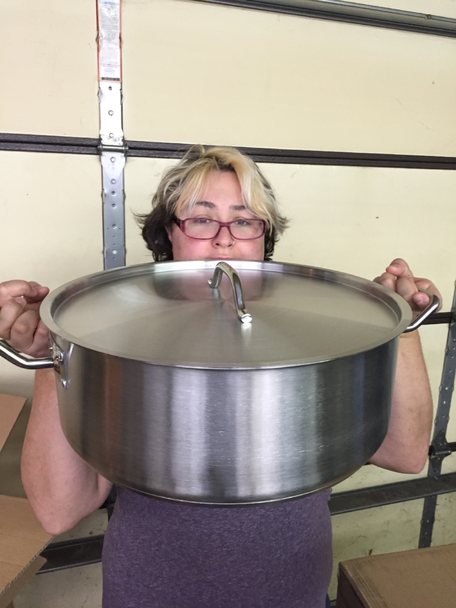 Here is one of our new big pots. Sorry I gots the crazy hair.