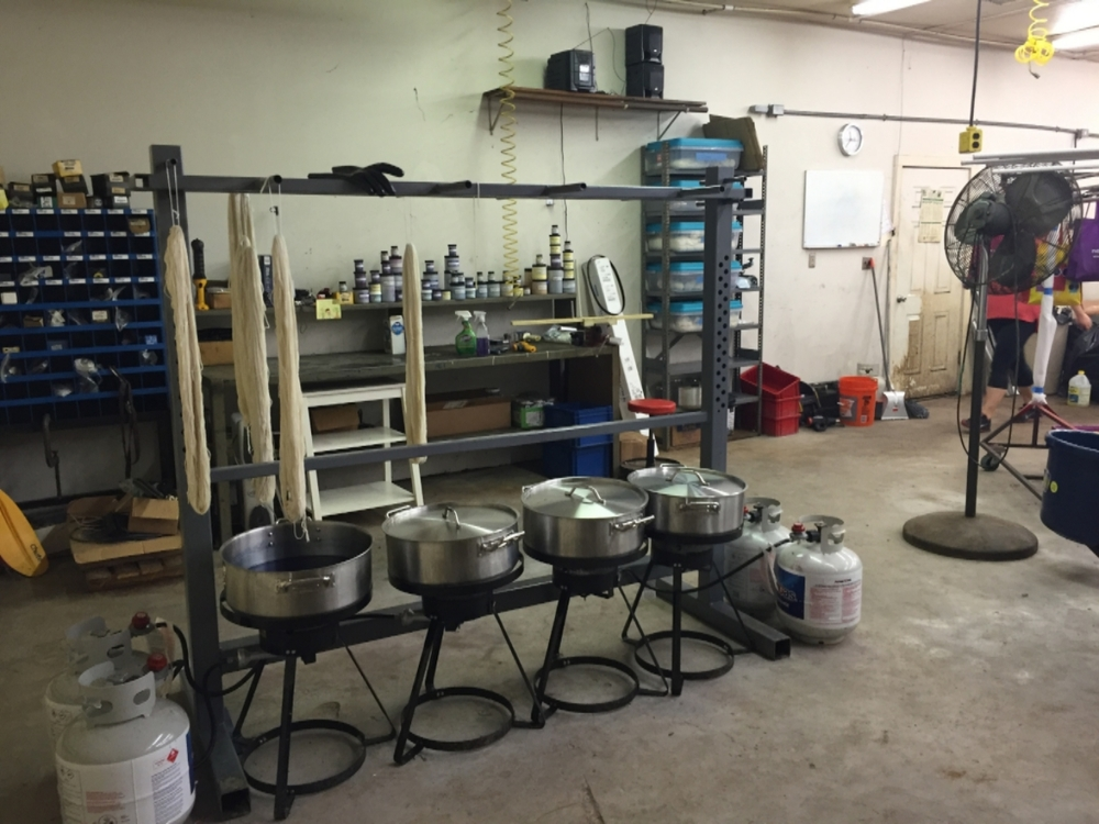 Here is a shot of the rack and pot setup we are using now. We were cleaning up this day, it's hard to see how much room we actually have now.