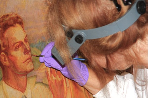 Many oil paintings need to be restored directly on site such as this mural restoration at the Westport Historical Society in Connecticut.