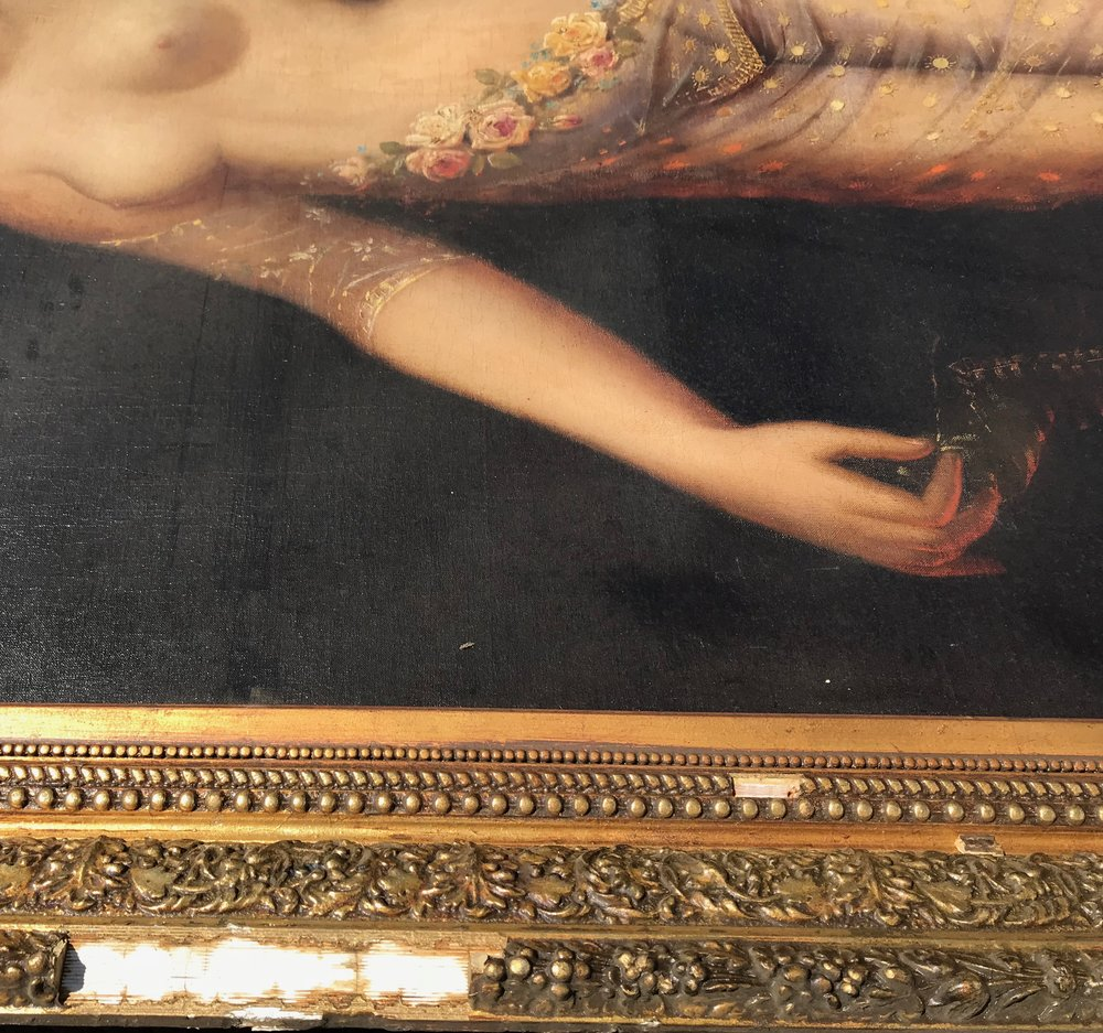 Detail of missing ornament and gilding on the frame; Before Treatment