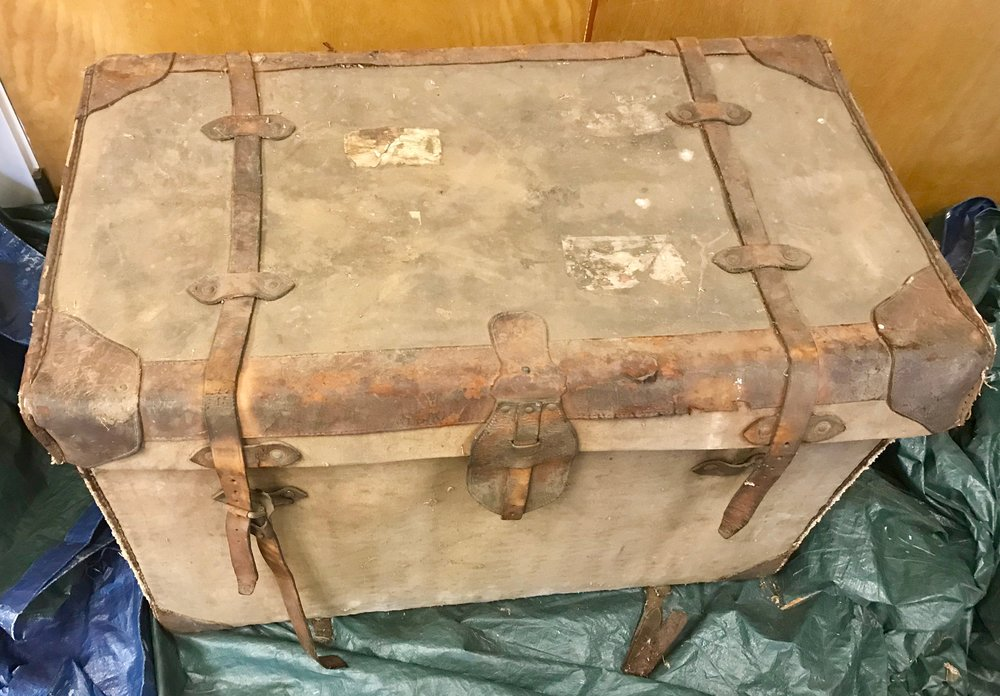 The Trunk, before conservation treatment, on site at the Pony Express Museum.