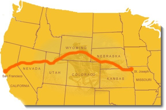 Map of The Pony Express Route: from St, Joseph, Missouri to Sacramento, California.  Image : https://www.nps.gov/poex/planyourvisit/maps.htm