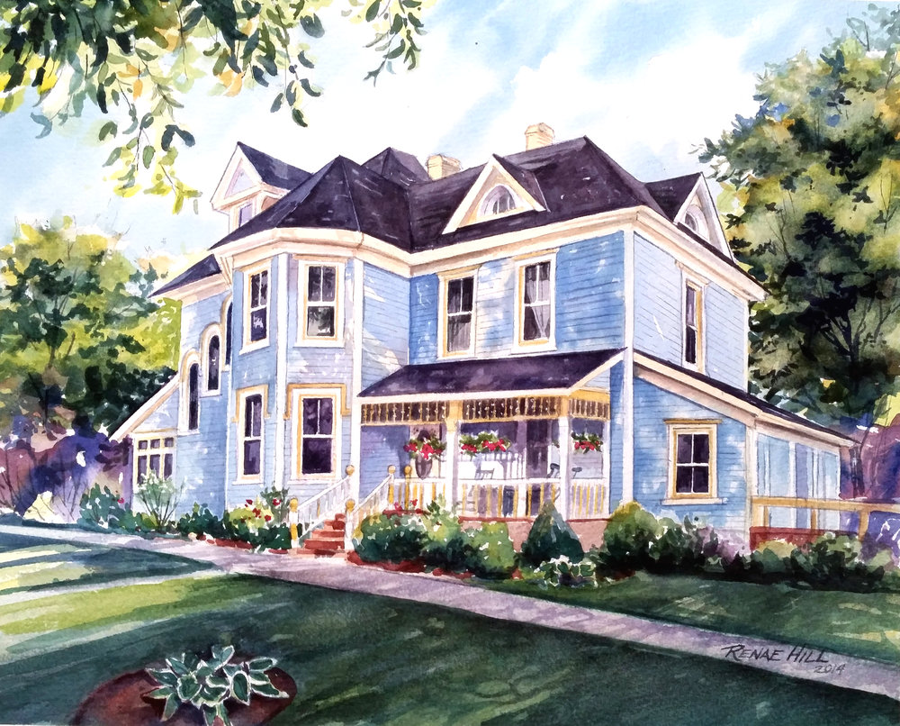 Summerside Inn  12x16 Watercolor                                A victorian house turned into a B&B in Summerside, Price Edward Island