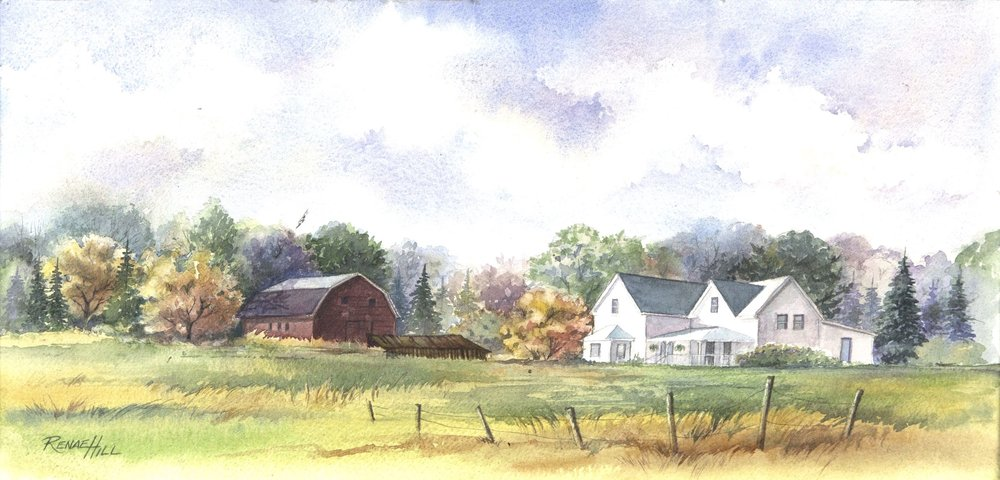 Homestead  10x19 Watercolor