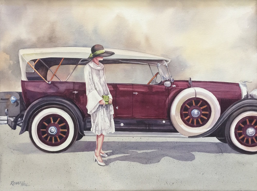 Her Motor Car  Watercolor 18x24