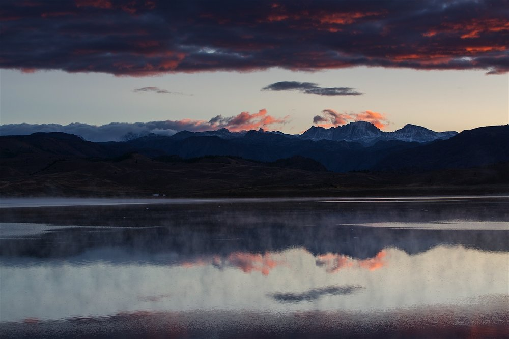Dawn breaks over Soda Lake and Fremont Peak in the Winds