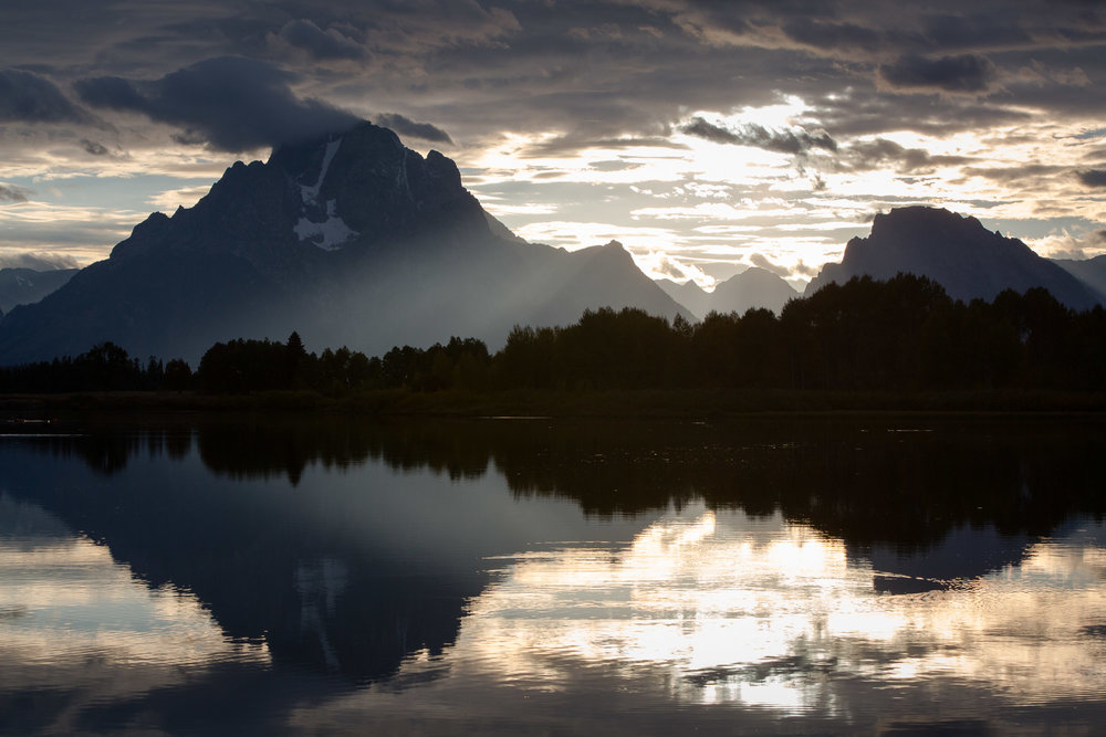 Sunset over Mount Moran and Oxbow Bend