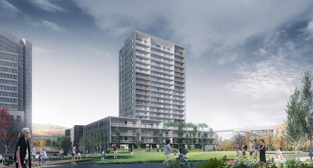 Block 20 rendering from Bora Architects with view from The Fields Park.