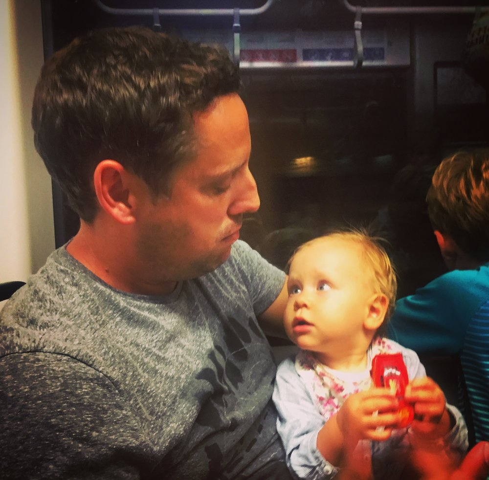 Riding the tram with Uncle Blub