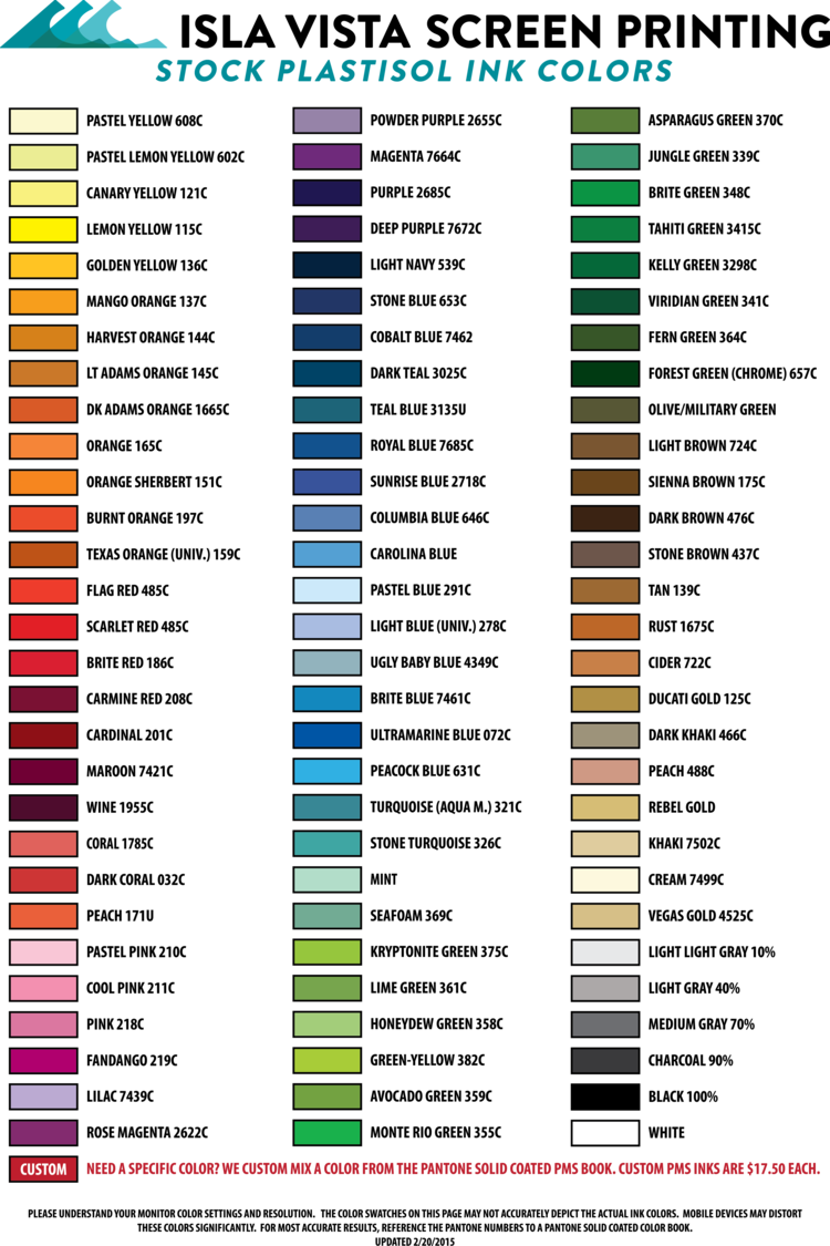 Ink color chart isla vista screen printing embroidery nvjuhfo Gallery