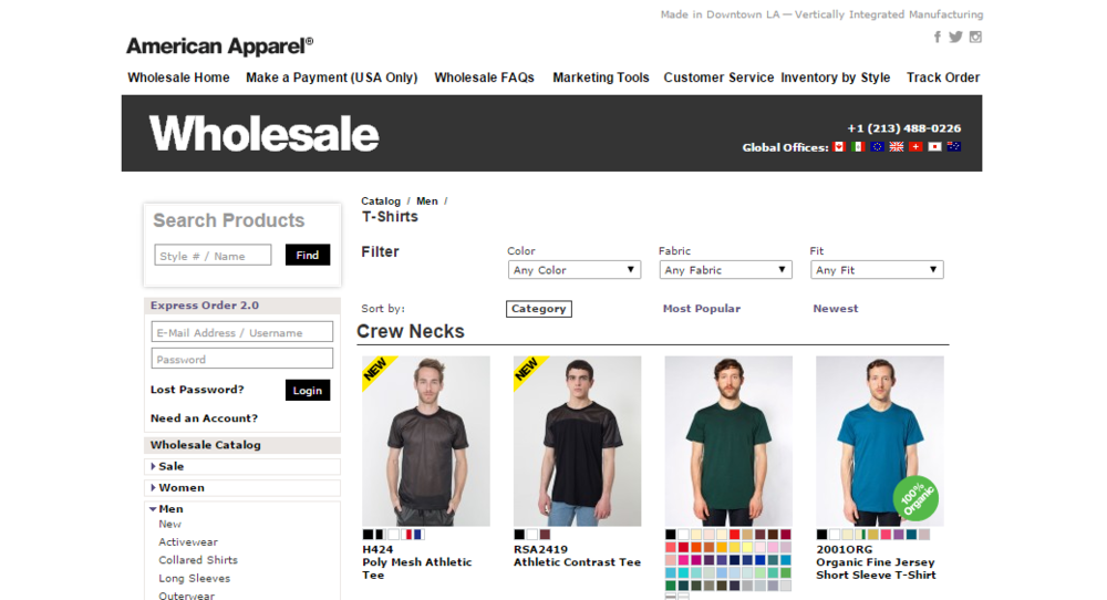 AMERICAN APPAREL'S OFFICIAL SITE FOR WHOLESALE PRODUCTS. THIS INCLUDES STOCK LEVELS FOR EACH COLOR AND STYLE.