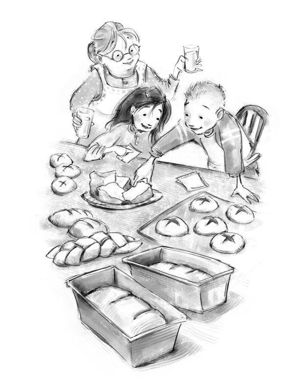 bw baking kids and gran BARTON.jpg