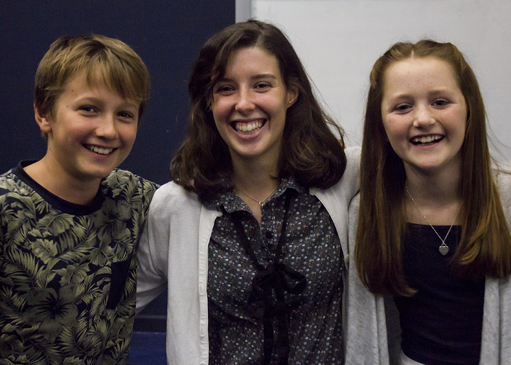 An encounter with the film's actors, Kye Holliday (left) and Lleucu Evans (Right), and its producer, Ana Luís Gravato (middle);