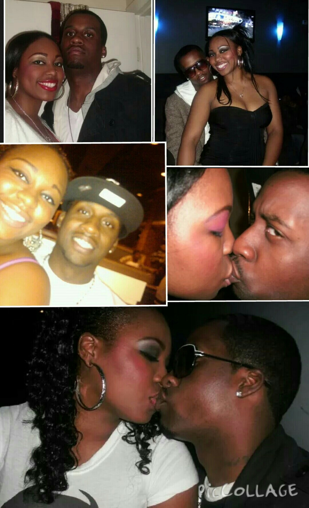 Top-Bottom: This collage is a bunch of shared firsts. The night we met, Our 1st Vday (2 weeks after we met) or 1st date (one day after we met) our 1st camera kiss (he never could get used to that) Us out dining during our 1st (&only) pregnancy. And my congratulatory kiss after my 1st spoken word showcase.