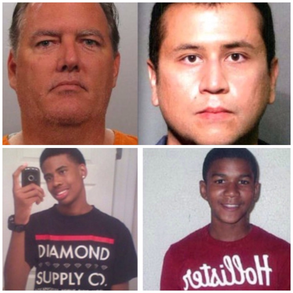 Top Left: Michael Dunn, George Zimmerman, Bottom Left: Jordan Davis and Trayvon Martin.