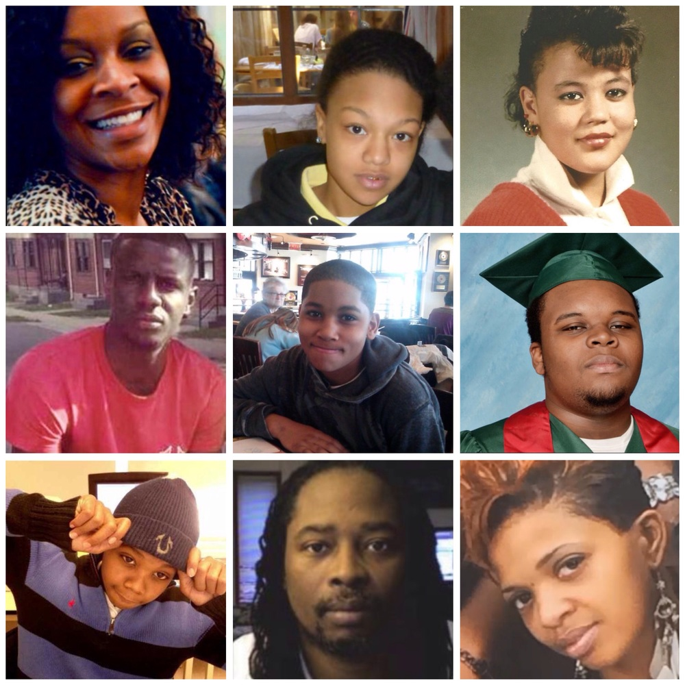 Top Left: Sandra Bland, Kindra Chapman, Raynett Turner, Freddie Gray, Tamir Rice, Mike Brown, Kimani Gray, Sam Dubose, Ralkina Jones