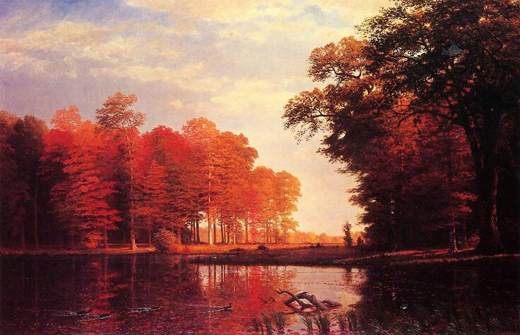 """Autumn Woods"" by Albert Bierstadt"