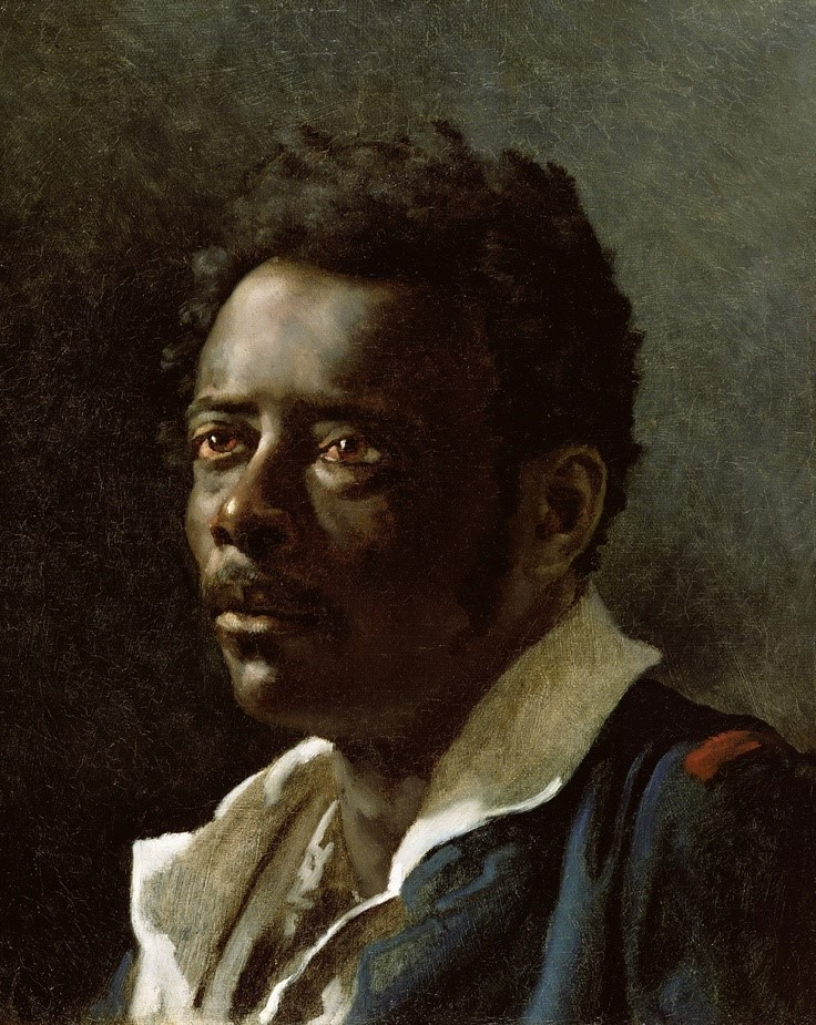 Théodore Géricault Portrait Study 1818-19 Portrait meant to be a realistic depiction of a survivor. Figure, like Cinque, is also an African-American slave and survivor, however, the expression and compositional elements evokes a completely different feeling.