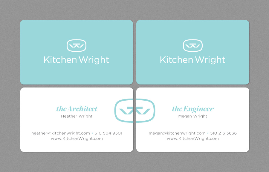 To play off Heather and Megan's close, sisterly bond, I designed the business cards so they form a complete logo when placed side-by-side.