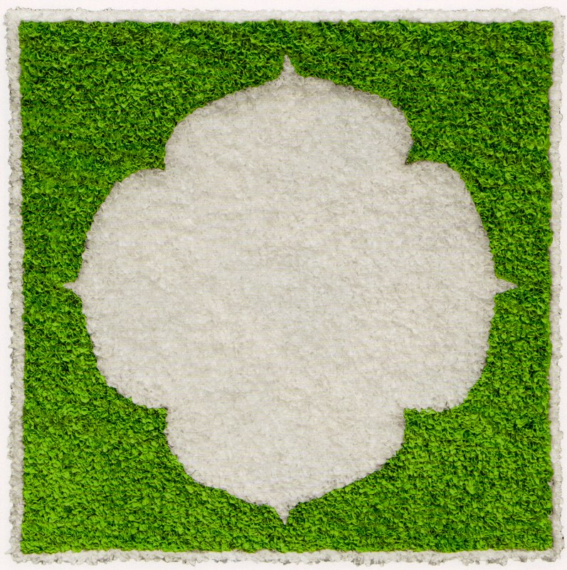 "Lotus Flower (Green) (Lotusblute Grun)  , 2010  relief object with Japanese paper  25 13/16"" x 25 13/16"""
