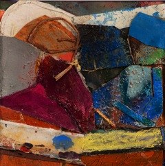 "Prelude, 2012 mixed media collage 14 1/4"" x 14 1/4"""