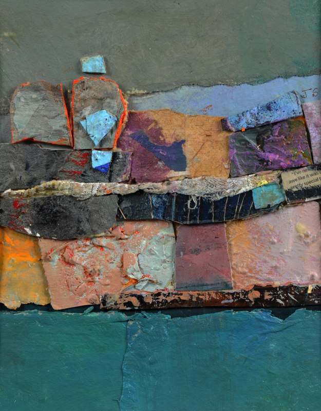 "Strata, 2013 mixed media collage 15 3/4"" x 13 3/4"