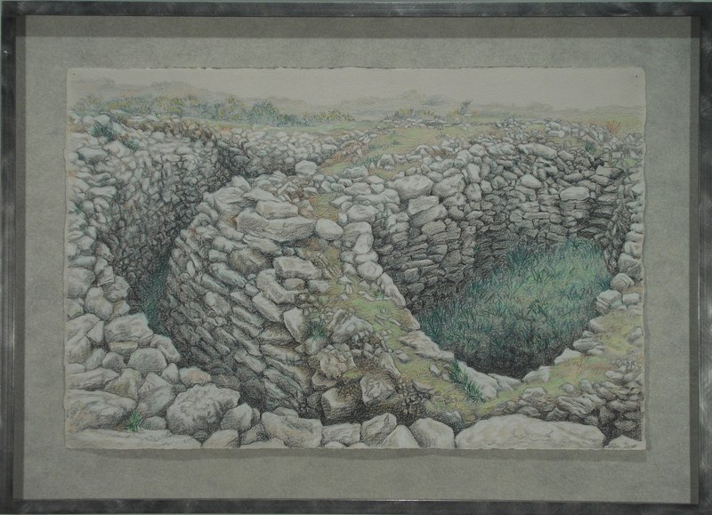"Ballowell Cairn   , 2006    mixed media on paper    17   1/2  "" 24   1/4  """