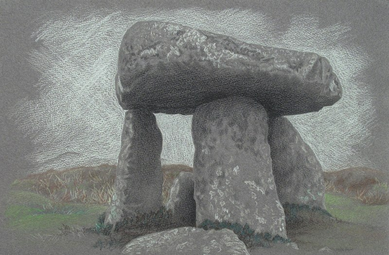 "Lanyon Quoit   , 2006   mixed media on paper   17   1/2  "" 24   1/4  """