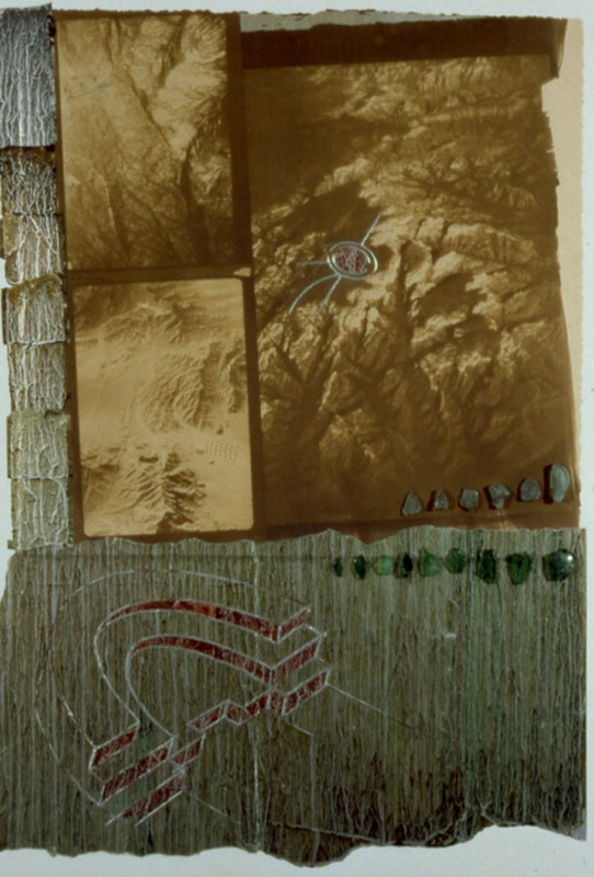 "What Remains,    1999     VanDyke brown printing on rag paper; collage: stained foils, shards of light and dark green glass, mixed media  mixed media on unstretched canvas  41"" x 31"""
