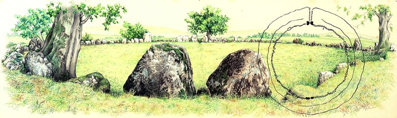 "Lough Gur Alignment    ,  2006   mixed media on paper   17   1/2  "" x 48   1/2  """