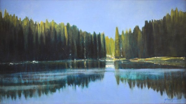 "Ford Lake, CO, 2011 oil on linen 18 1/8"" x 31"""