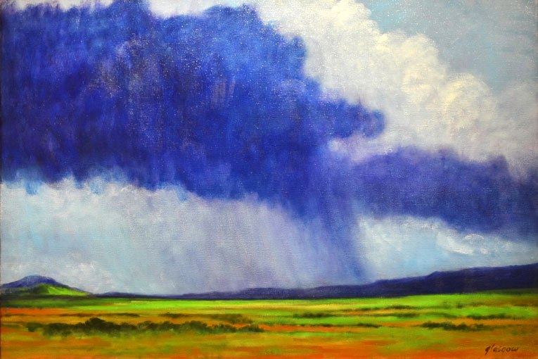 "Almost to Santa Fe    ,  2012   oil on linen   21   1/8  "" x 31   1/8  """