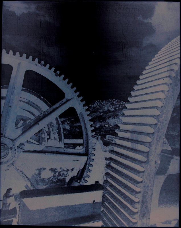 "Modern Times    ,  1995   photo emulsion on lead (1/3)   37"" x 29   1/2  """
