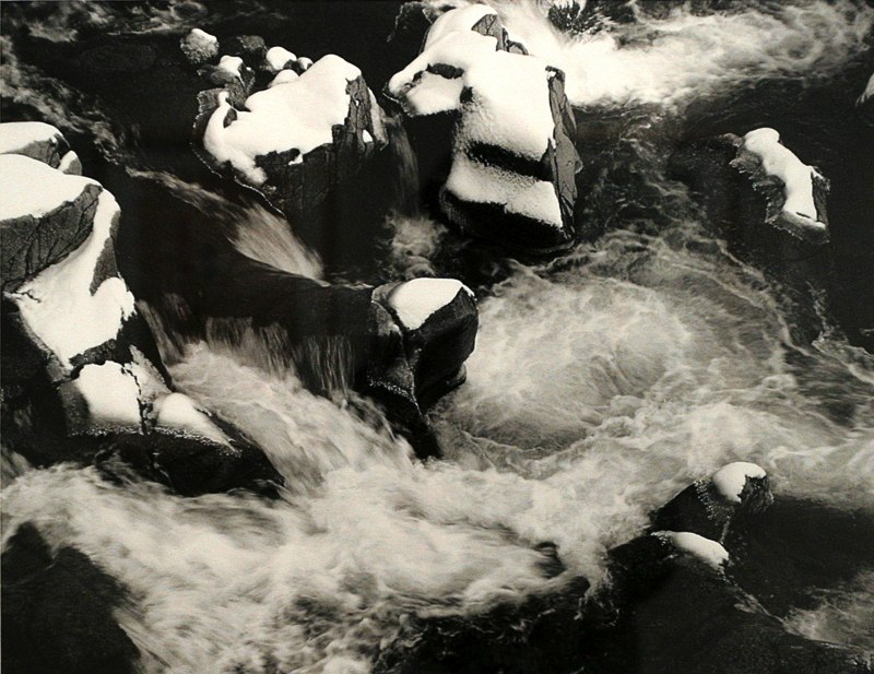 "Winter at Johnson's Shut-ins   , 1992   black and white photograph   25   1/4  "" x 29   1/4  """