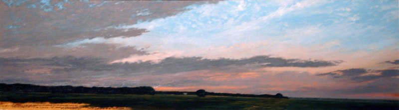 "Flocking Crows    ,  2006   oil on paper   15   7/8  "" x 35   1/8  """