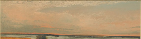 "Evening of Fresh Snow    ,  2009   oil on paper   17   1/4  "" x 36   1/2  """