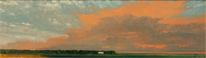 "Hay Bale Shed and Crows, 2009 oil on paper 17 1/2"" x 36 1/2"""